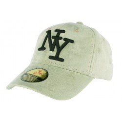 Casquette baseball NY vert opaline effet daim Stally ANCIENNES COLLECTIONS divers
