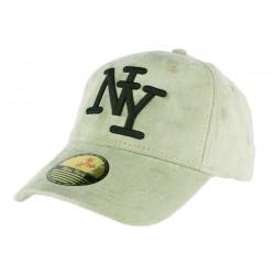 Casquette baseball NY vert opaline effet daim Stally