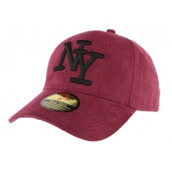 Casquette baseball NY Rouge Bordeaux effet daim Stally