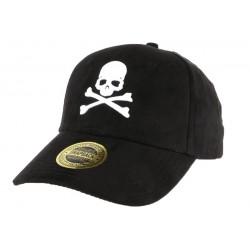 Casquette baseball noire tête de mort blanche effet daim Bony