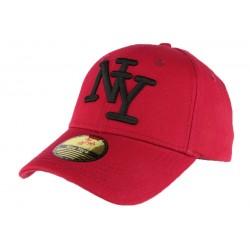 Casquette NY rouge et noir en coton Goody