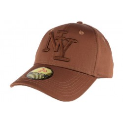 Casquette baseball NY Marron en coton brillant Shiny
