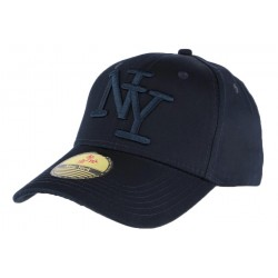 Casquette baseball NY bleu marine en coton brillant Shiny