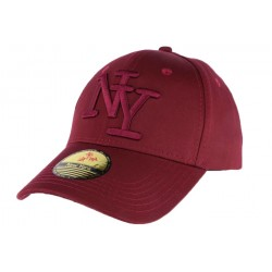 Casquette baseball NY rouge bordeaux en coton brillant Shiny