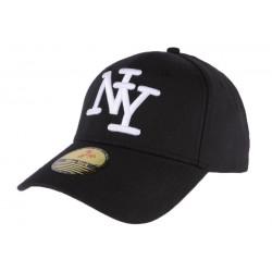 Casquette Baseball noire NY Blanc en coton classe couture