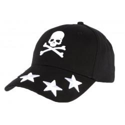 Casquette baseball noire avec tête de mort blanche