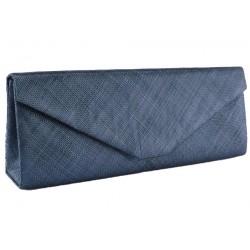 Longue pochette mariage bleu marine en sisal Maltea