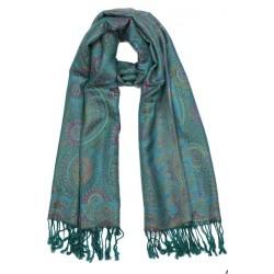 Echarpe Pashmina Bleu canard et Turquoise Bombay