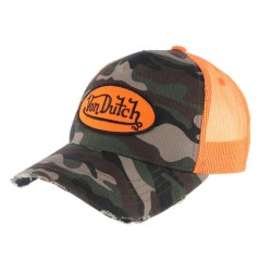 Casquette filet Von Dutch Camouflage kaki orange