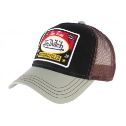 Casquette Von Dutch Motorcycles Square verte et marron