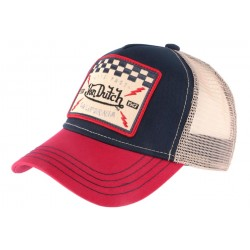 Casquette Trucker Von Dutch Square Motors Marine et Rouge