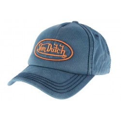 Casquette baseball Von Dutch Bleu et Orange Bob CASQUETTES VON DUTCH