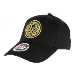 Casquette baseball noire Tête de Lion doré
