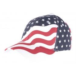 Casquette Baseball USA drapeau Rouge et Bleu