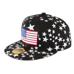 Casquette Snapback Noire drapeau USA et Etoiles