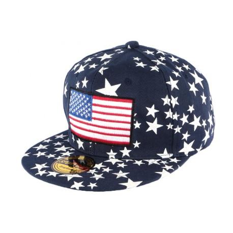 Casquette Snapback Bleue drapeau USA et Etoiles CASQUETTES Hip Hop Honour