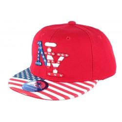 Casquette NY Enfant Rouge drapeau USA à partir de 6 ans Casquette Enfant Hip Hop Honour