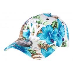 Casquette Baseball Bleue à Fleurs Hawai
