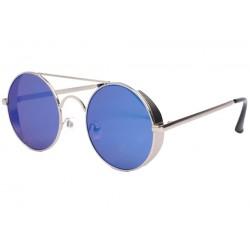 Lunettes de soleil miroir bleu rondes pilote Rigby