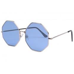 Lunettes de soleil octogonales bleues Fashion Octy