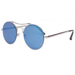 Lunettes de soleil miroir rondes bleues Need