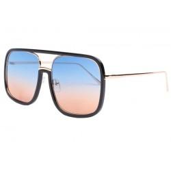 Grandes lunettes de soleil noir et bleu Macky