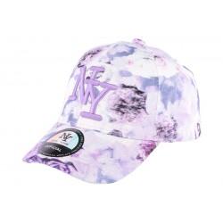 Casquette NY enfant violette et blanche à fleurs Pasty de 7 à 12 ans Casquette Enfant Hip Hop Honour