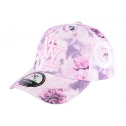 Casquette NY enfant rose et blanche à fleurs Pasty de 7 à 12 ans