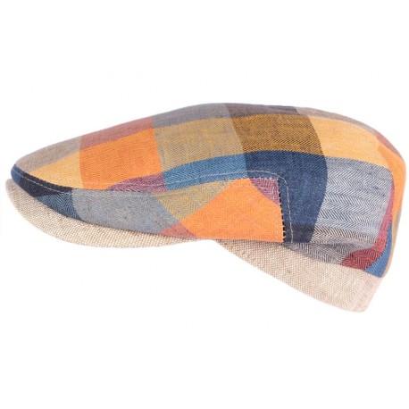 Casquette plate bleue et orange en lin Tussy par HG