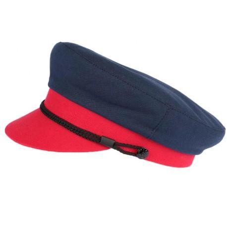 Casquette de marin rouge et bleu marine Mylord Creation Francaise