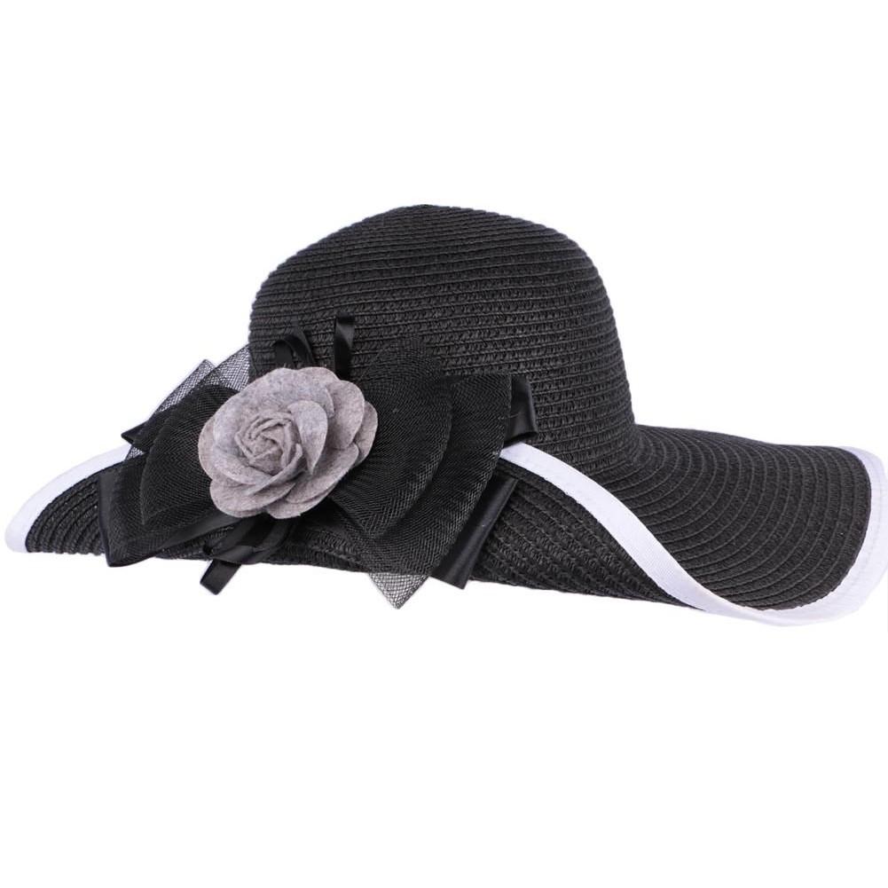 chapeau mariage noir et blanc avec fleur capeline c r monie livr 48h. Black Bedroom Furniture Sets. Home Design Ideas
