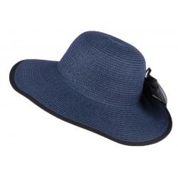 Chapeau mariage bleu marine avec fleur noire Fergy