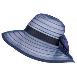 Chapeau mariage bleu marine vaporeux en crin Lyza