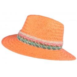 Chapeau paille femme orange fantaisie Solya CHAPEAUX Léon montane