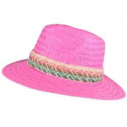 Chapeau paille femme rose fantaisie Solya
