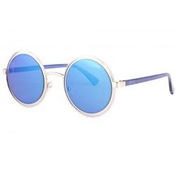 Lunettes de soleil rondes miroir bleu fashion Docky