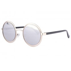 Lunettes de soleil rondes miroir gris fashion Docky