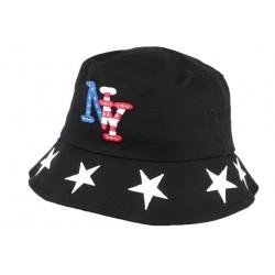Chapeau Bob noir drapeau USA et étoiles en coton