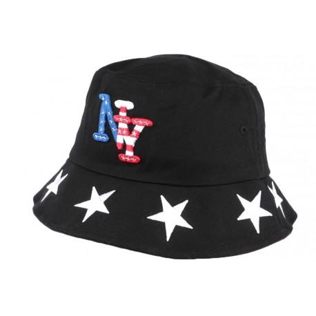 Chapeau Bob noir drapeau USA et étoiles en coton BOB Hip Hop Honour
