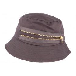 Chapeau Bob Gris fermeture eclair doré en coton BOB Hip Hop Honour