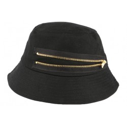 Chapeau Bob Noir fermeture eclair doré en coton BOB Hip Hop Honour