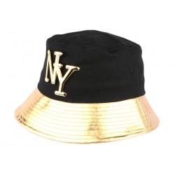 Chapeau Bob doré et noir NY en coton BOB Hip Hop Honour