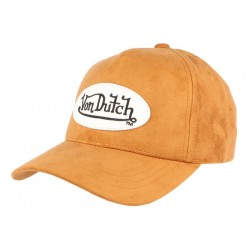 Casquette Von Dutch Cuir Marron Suede CASQUETTES VON DUTCH
