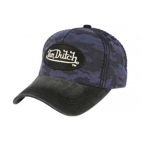 Casquette Von Dutch militaire bleue et noir Ethan