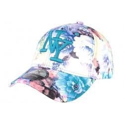 Casquette NY bleue baseball à fleurs Spring CASQUETTES Hip Hop Honour