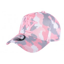 Casquette NY militaire rose et grise Bossy