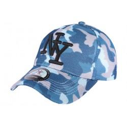 Casquette NY militaire bleu et grise Bossy