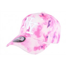 Casquette NY rose et blanche tie dye sweat Woox