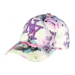 Casquette NY violette baseball à fleurs Spring