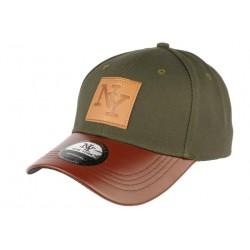 Casquette NY verte visière cuir marron Major